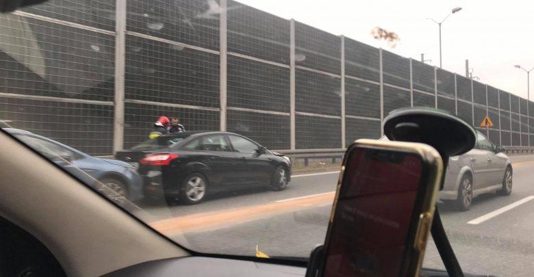 Katowice: Korek na Sosnowiec po kolizji przy wjeździe z tunelu (fot.Paweł Jędrusik)