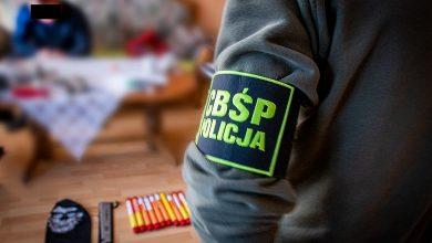 Uderzenie w gang kiboli na Śląsku. Zabezpieczono maczety, race i narkotyki (fot.CBŚP)