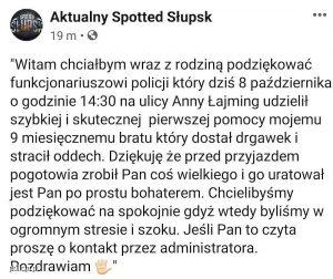 Treść podziękowań dla policjanta na lokalnym portalu internetowym Aktualny Spotted Słupsk