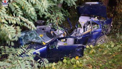 Kierowca BMW uderzył w drzewo. Nie żyje. Zginął również 15-latek (fot.Policja Lubelska)