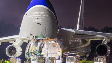 POTĘŻNY Antonov An-124 Rusłan w Katowice Airport. Kolos przyleciał do Pyrzowic ze sprzętem medycznym (fot.Piotr Adamczyk)