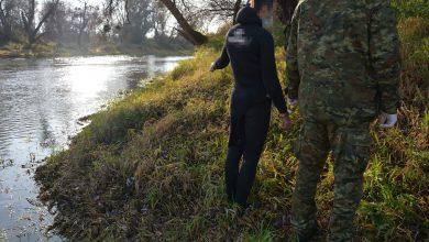 Funkcjonariusze z Placówki SG w Skryhiczynie w pobliżu miejscowości Dubienka na terenie powiatu chełmskiego w pobliżu rzeki granicznej Bug zauważyli mężczyznę ubranego w specjalistyczny strój do pływania (fot.SG)