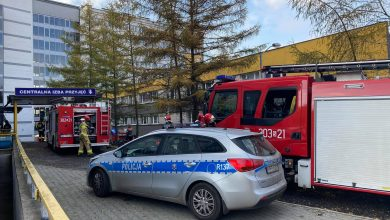 Pożar w Szpitalu Klinicznym w Katowicach przy ulicy Medyków wybuchł w sobotę, 14 listopada ok. godz. 12.00. Pożar wybuchł w jednej z sal szpitalnych na 7 piętrze budynku. (fot.Bartosz Bednarczuk)