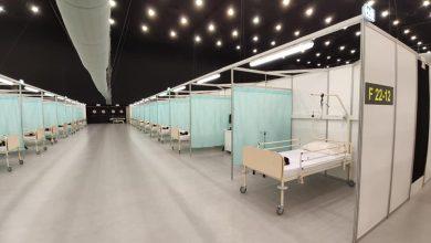 Szpital tymczasowy na terenie Międzynarodowego Centrum Kongresowego w Katowicach jest już gotowy. Od poniedziałku będzie przyjmował pacjentów chorych na COVID – 19 (fot.Łukasz Majewski)