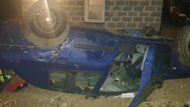 Pijany wiózł 3 małe córki. Auto dachowało (fot.Policja Małopolska)