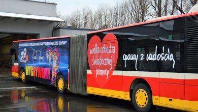 W Bielsku można dziś jeździć Orkiestrowym autobusem. Fot. UM Bielsko-Biała