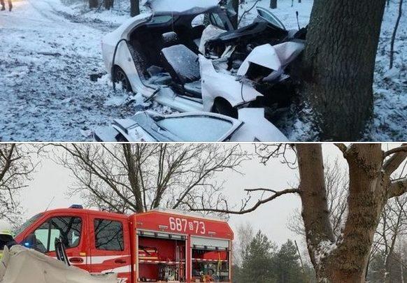 Dwa wypadki, cztery ofiary...niestety do obu tych tragedii doszło w weekend na terenie powiatów gliwickiego i zawierciańskiego. Poślizg pojazdów na oblodzonej jezdni a następnie zderzenie z drzewem to wspólny mianownik tych zdarzeń (fot.KWP Katowice)