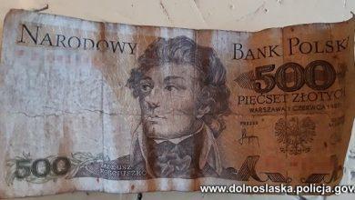 Wpadł w ręce policji, bo chciał zapłacić za zakupy banknotem z 1982 roku (fot.Policja Dolnośląska)