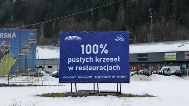 Wiślańskie bannery o kryzysie przedsiębiorców na WOŚP. Fot. WOT
