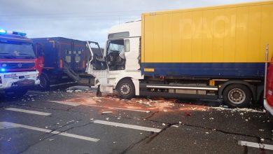 Śląskie: Karambol 4 ciężarówek na DK 91. Droga została kompletnie zablokowana (fot. Policja Śląska)