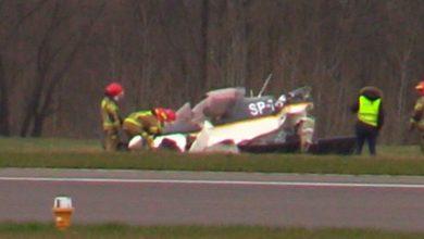 Wypadek samolotu na lotnisku w Gliwicach. Rozbił się przy lądowaniu