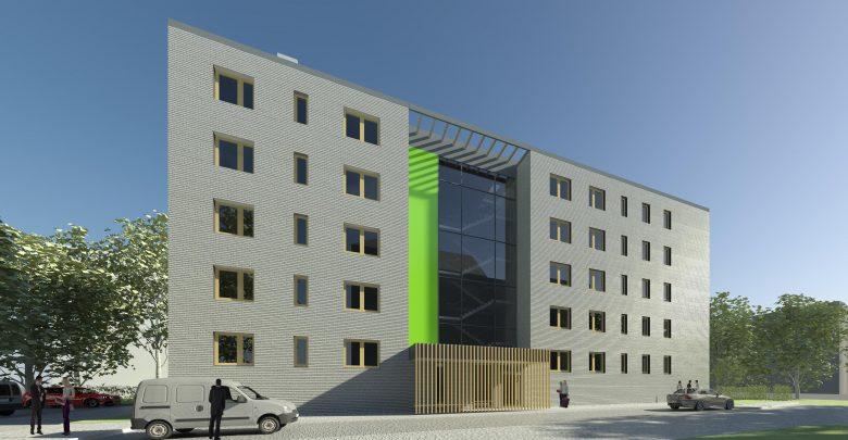 W pięciokondygnacyjnym, jednoklatkowym budynku przy ul. Stefana Batorego powstanie 30 mieszkań, po 6 na piętrze. Do każdego z nich będzie przynależeć piwnica. [fot. BBTBS / UM Bielsko-Biała]