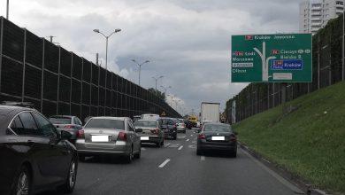 Kolizja za wyjazdem z tunelu w Katowicach. Potężne korki w piątek, 28 maja (fot.Paweł Smalcerz)