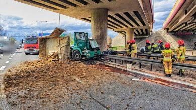 Wypadek na autostradzie A4. Nie żyje kierowca ciężarówki (fot.Policja Małopolska)