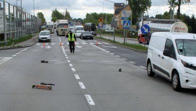 Żory: Potrącenie dziecka na DK81. 12-latek został przetransportowany śmigłowcem do szpitala (fot.KMP Żory)