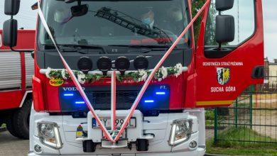 Nowy nabytek strażaków z Suchej Góry to średni samochód ratowniczo- gaśniczy z napędem 4x4 zabudowany na podwoziu Volvo. [fot. UM Bytom / Hubert Klimek]