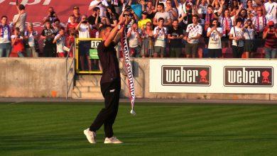 Tak 10 tysięcy kibiców Górnika Zabrze witało na stadionie jednego z zawodników drużyny mistrza świata z 2014 roku Lukasa Podolskiego