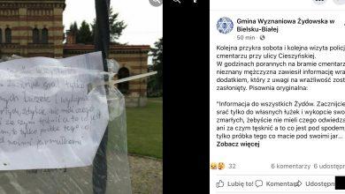 """SKANDAL! Kartka na cmentarzu żydowskim w Bielsku. """"Srajcie tylko do własnych łóżek"""". Fot. screen FB Gmina Wyznaniowa Żydowska w Bielsku-Białej."""